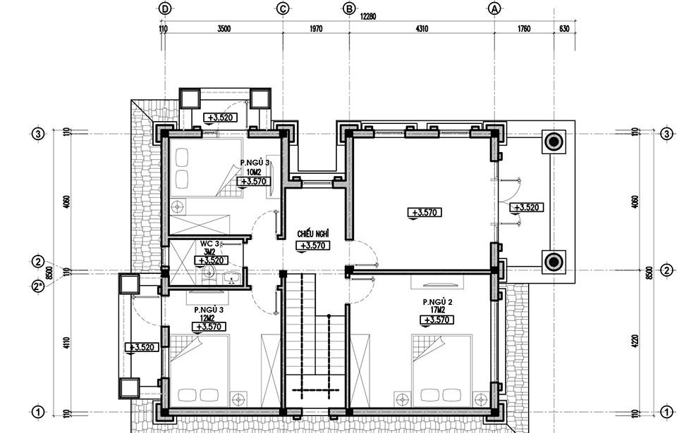 mặt bằng tầng 2 biệt thự