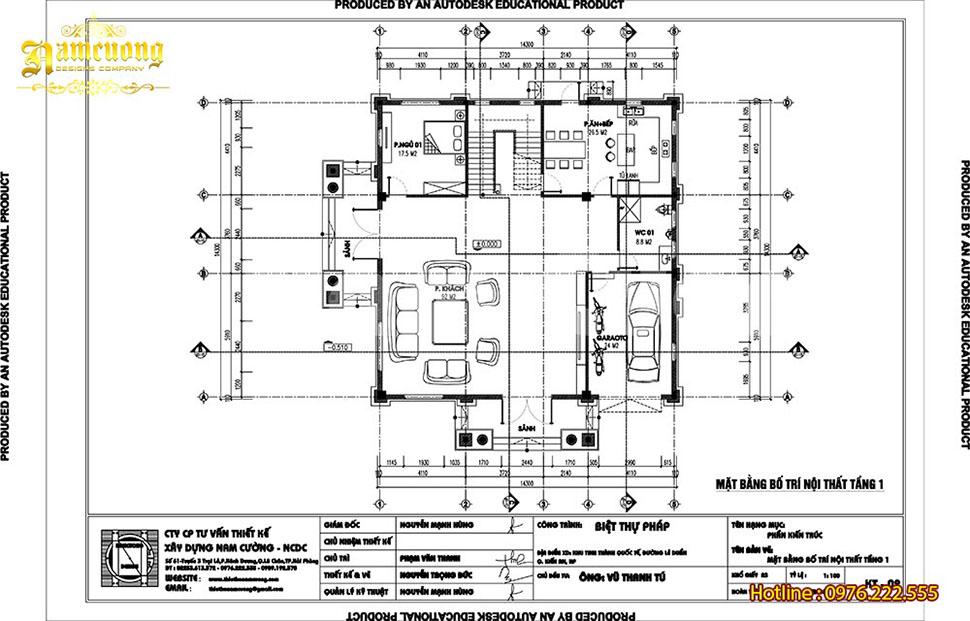 mặt bằng tầng 1 biệt thự 3 tầng 140m2