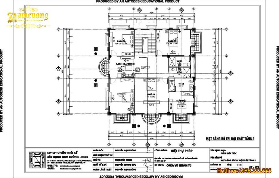 mặt bằng tầng 2 biệt thự 3 tầng rộng 1502m2