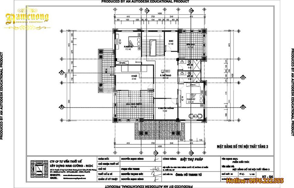 bản vẽ mặt bằng biệt thự 3 tầng 150m2