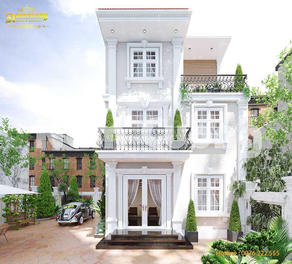 biệt thự 3 tầng tân cổ điển màu trắng