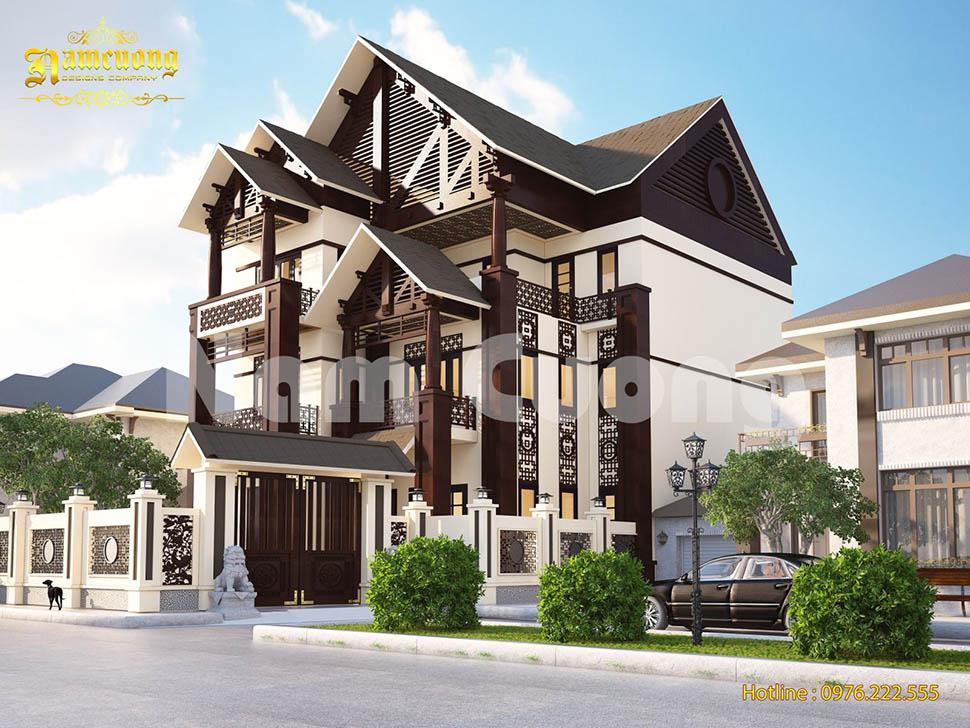 mẫu biệt thự 3 tầng tân cổ điển bằng gỗ