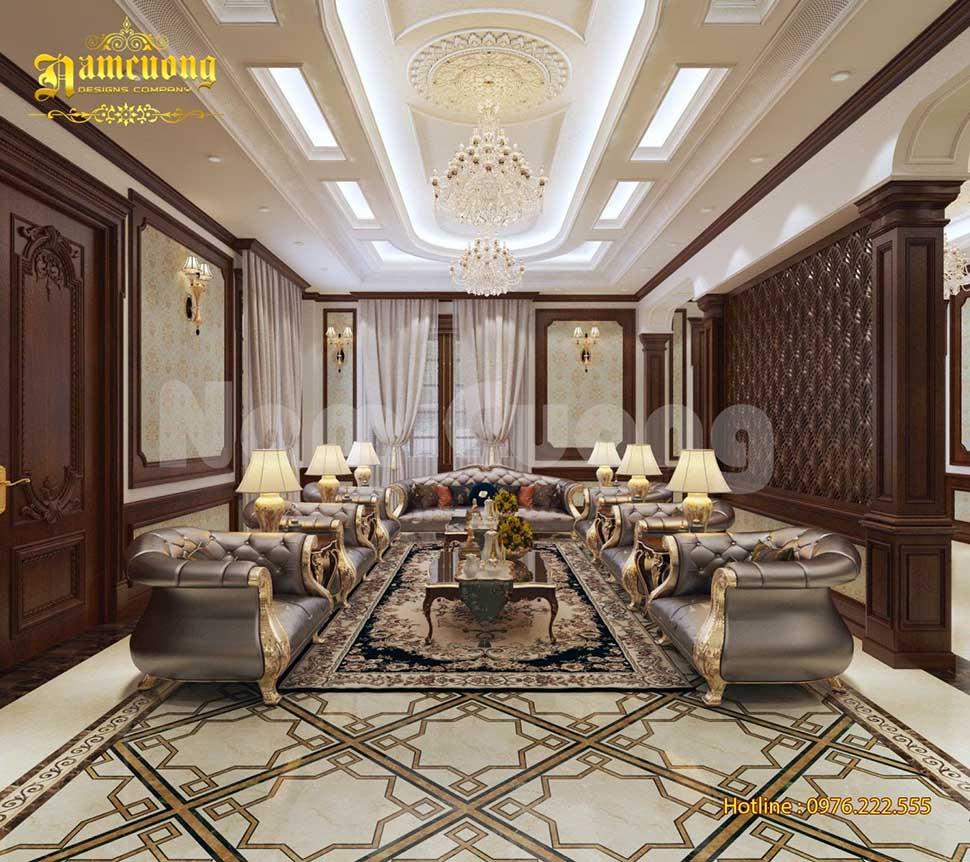 nội thất phòng khách biệt thự kiểu pháp