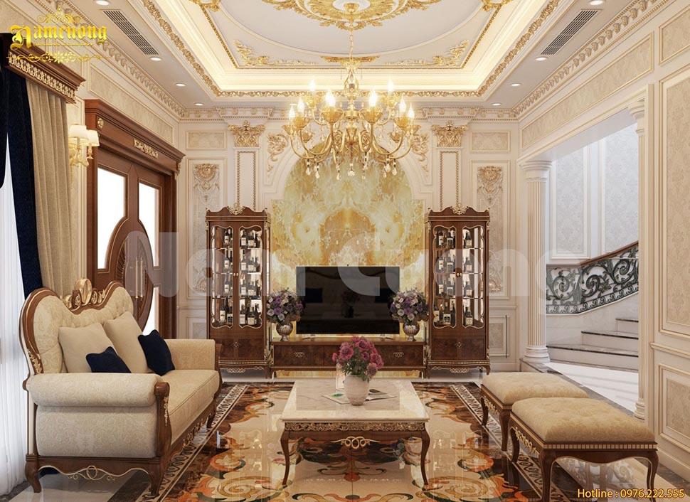 mẫu nội thất phòng khách biệ thự sang trọng