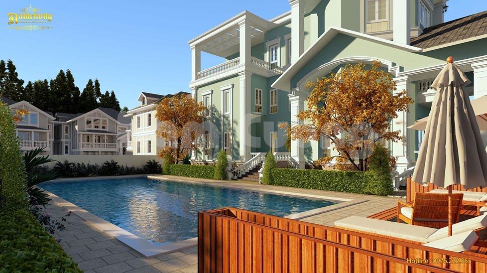 thiết kế biệt thự 3 tầng có bể bơi