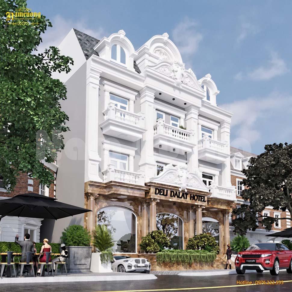 mẫu thiết kế khách sạn mini 4 tầng ở Đà Lạt