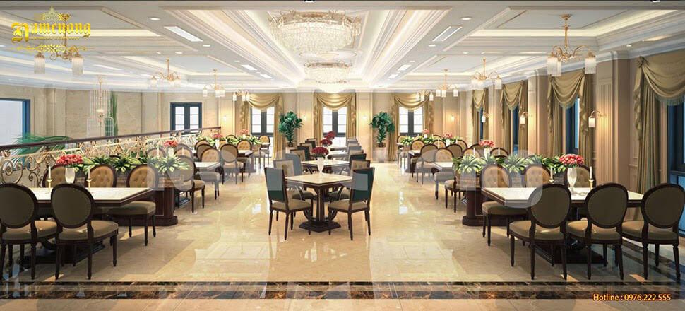thiết kế nội thất phòng ăn khách sạn tân cổ điển