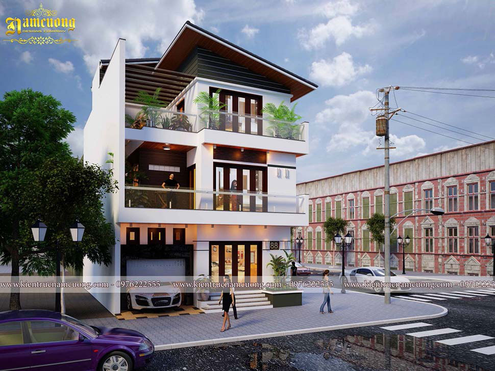 mẫu thiết kế biệt thự 3 tầng 2 mặt tiền siêu đẹp