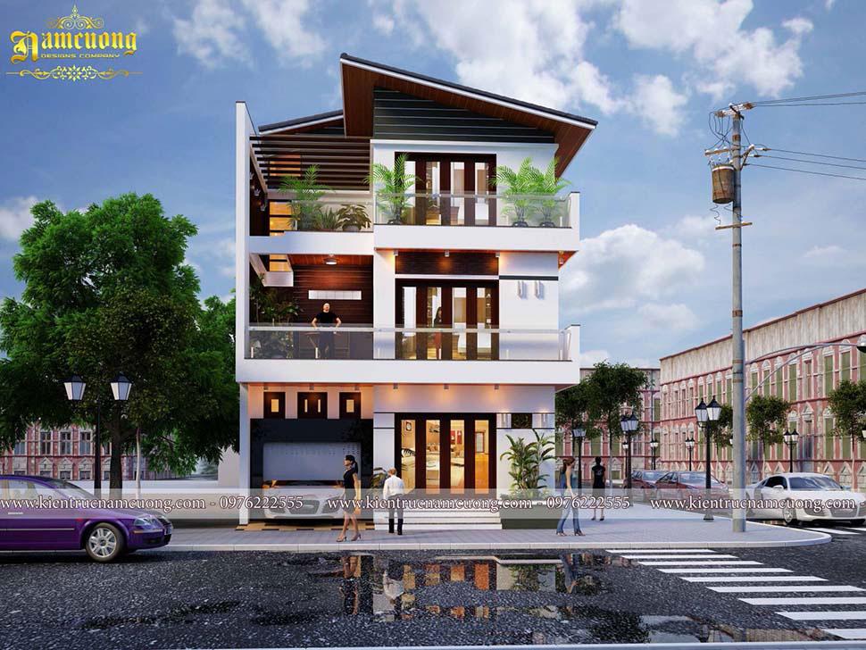 kiến trúc biệt thự 3 tầng 2 mặt tiền đẹp