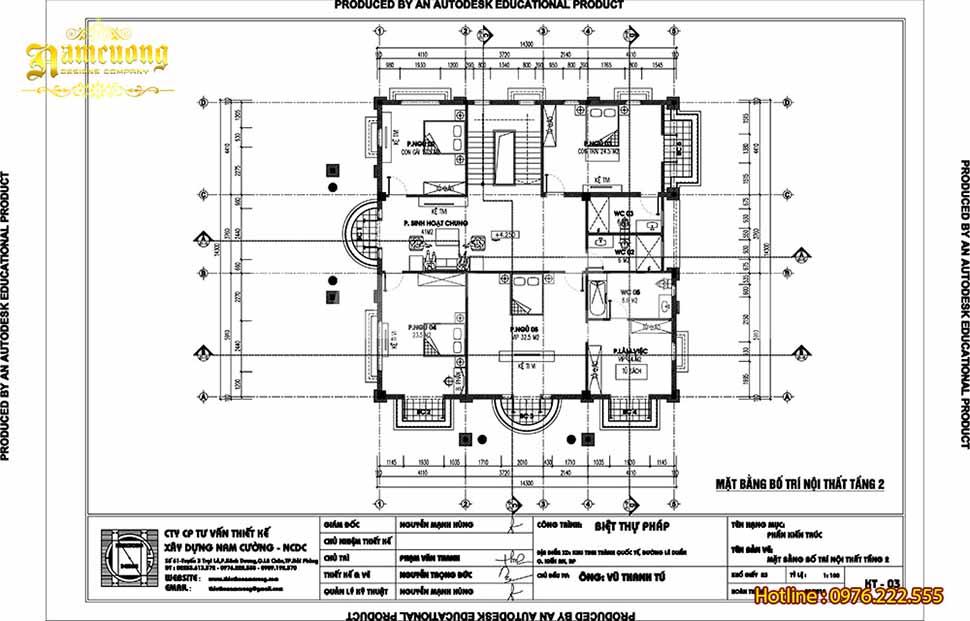 mặt bằng tầng 2 nhà 3 tầng 4 phòng ngủ