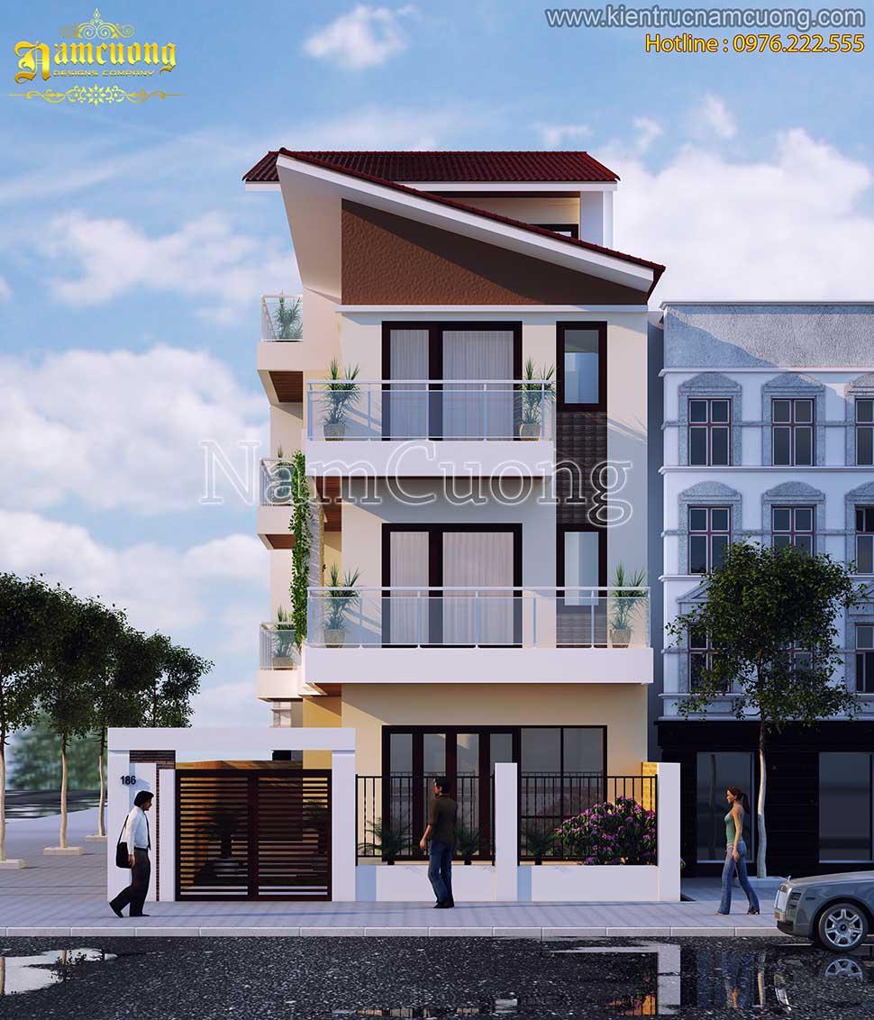kiến trúc biệt thự 3 tầng mái lệch