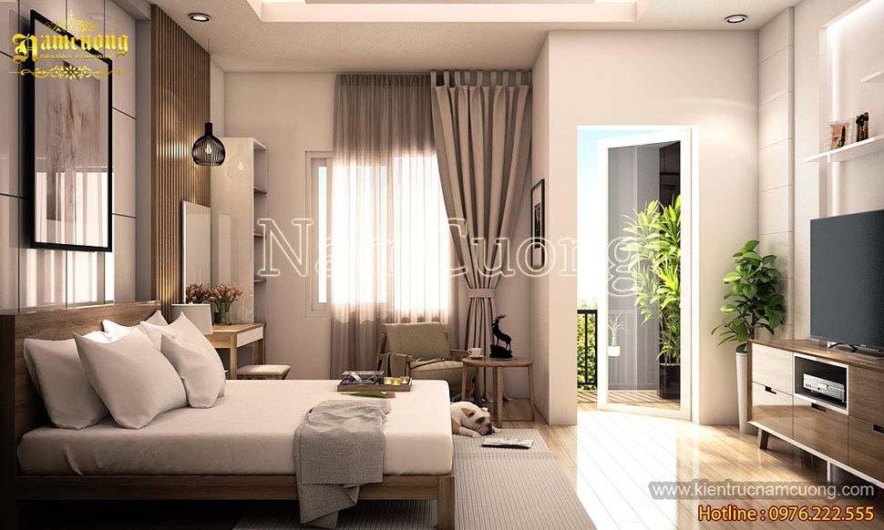 phòng ngủ nhà phố 3 tầng hiện đại 4x20m