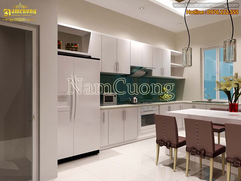 nội thất phòng bếp nhà phố 4x20m