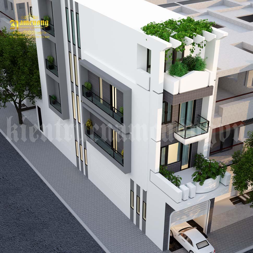 nhà phố hiện đại 2 mặt tiền  mái bằng
