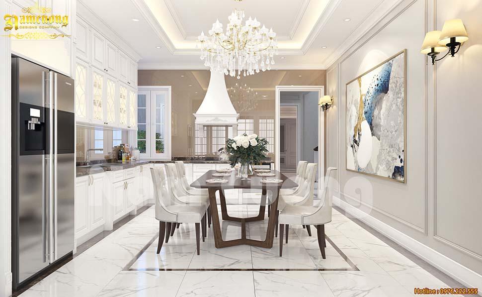 thiết kế phòng bếp màu trắng