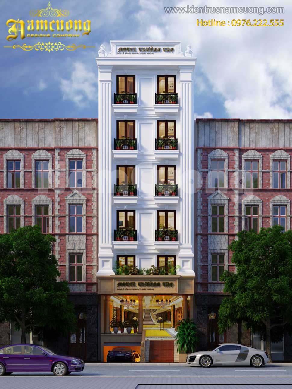 thiết kế khách sạn mặt tiền đẹp gây ấn tượng mạnh