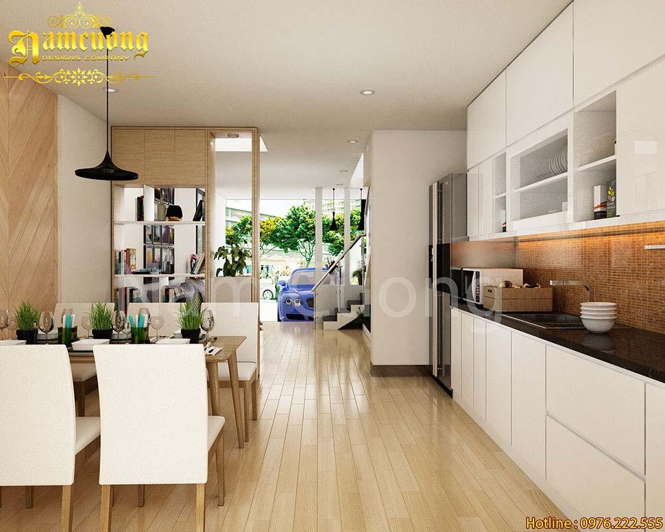 phòng bếp nhà phố có gara
