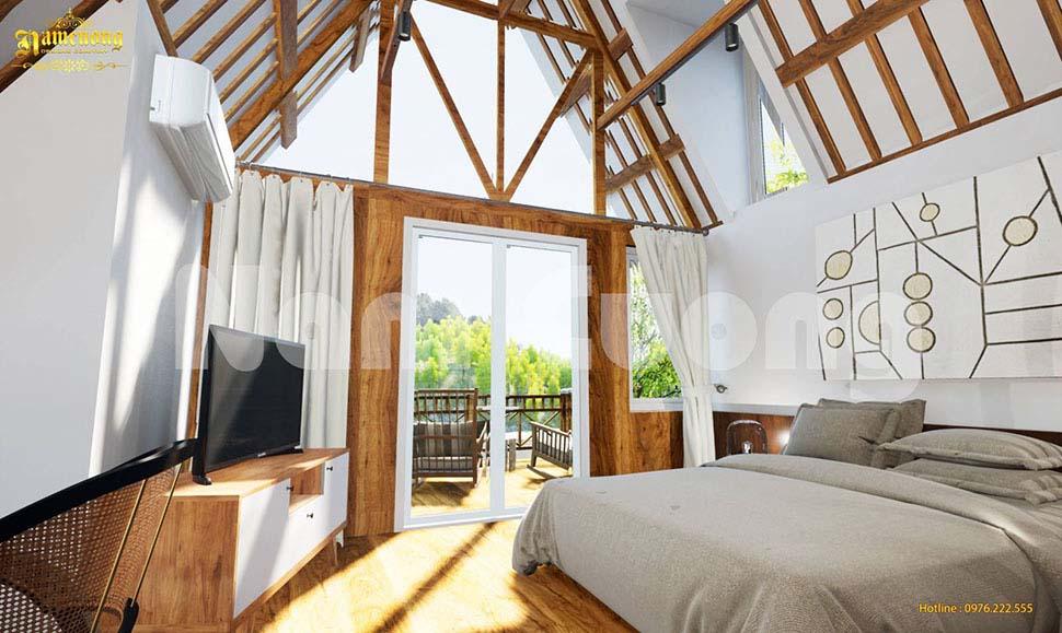 thiết kế resort có nội thất bên trong đơn giản mà tiện nghi