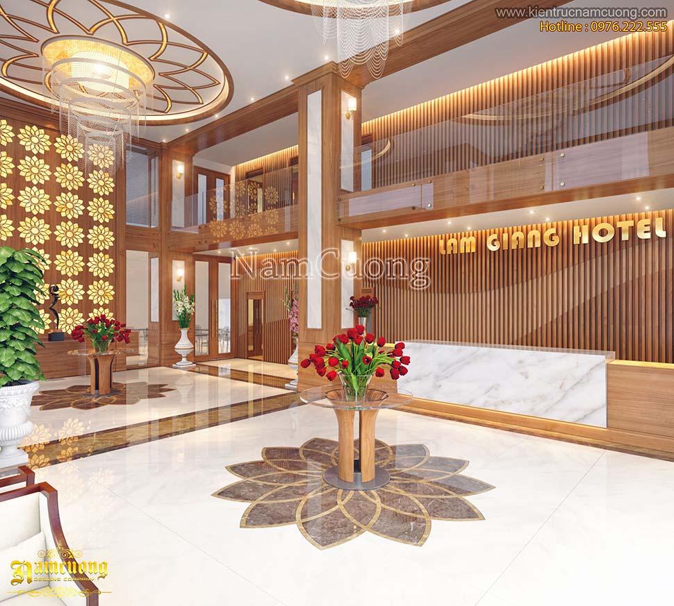 không gian sảnh khách sạn 2 sao