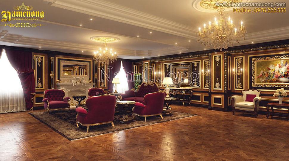 phòng khách biệt thự 3 tầng