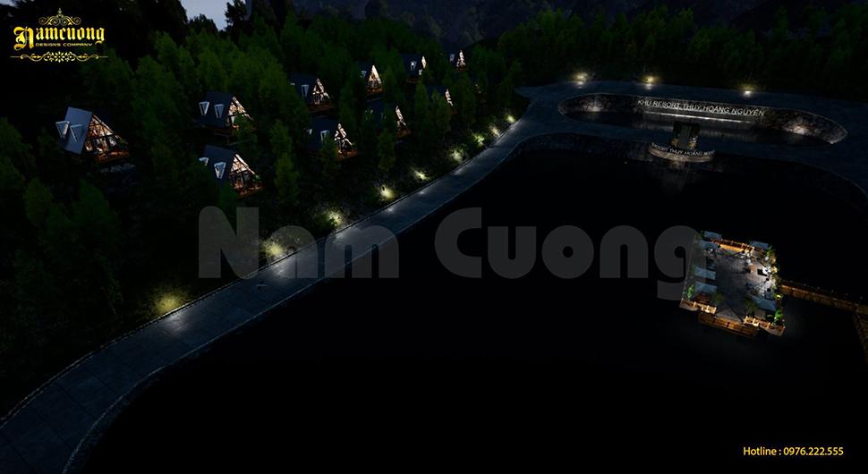resort bungalow khi đêm về