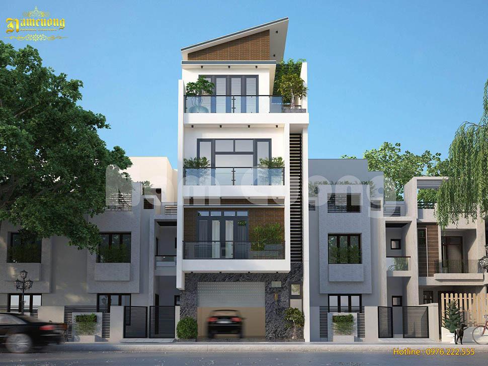 thiết kế nhà lô 4 tầng