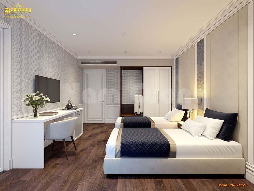 Gam màu trắng tinh khôi giúp không gian phòng ngủ thêm sang trọng