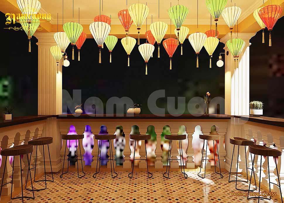 thiết kế quán cafe đèn lồng