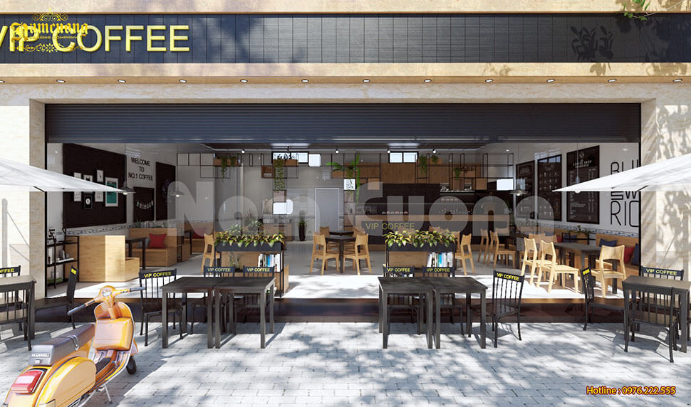 thiết kế quán cafe phong cách hiện đại