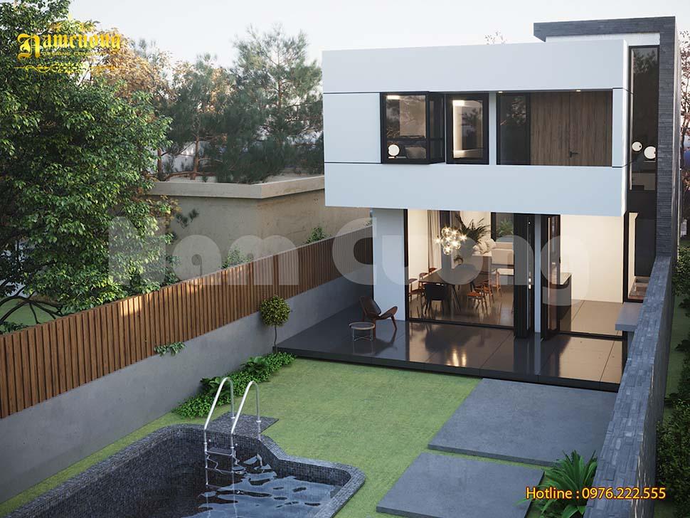 nhà 2 tầng có bể bơi