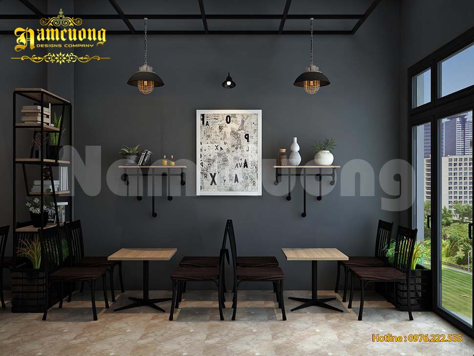 khong gian cafe xanh