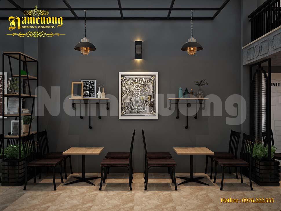 nội thất quán cafe gác lửng