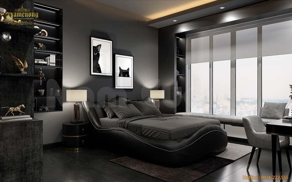 phòng ngủ màu tối