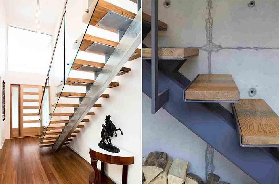 Cầu thang hình xương cá giúp không gian thoáng rộng