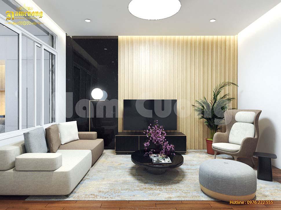 Ghế sofa văng đặt trong phòng khách nhỏ giúp không gian thêm xinh