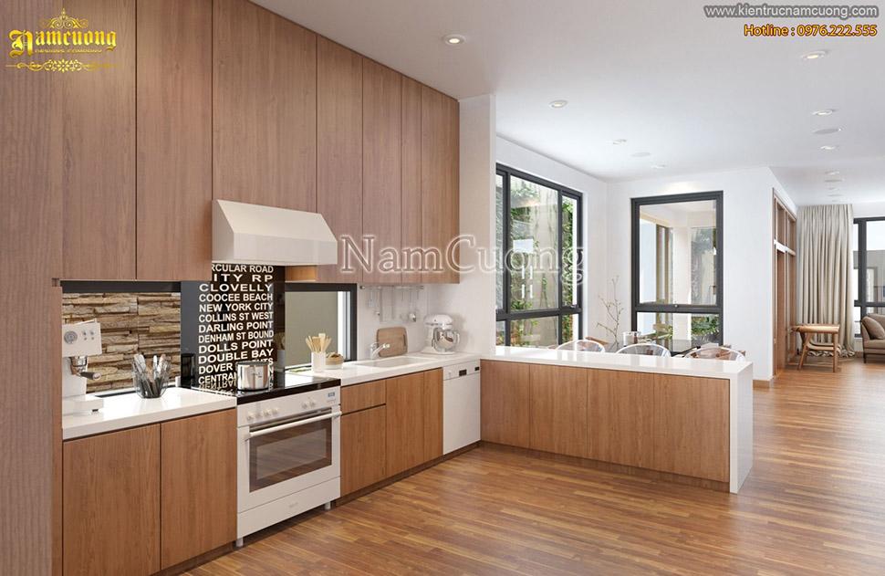 Sử dụng sàn gỗ công nghiệp lát phòng bếp