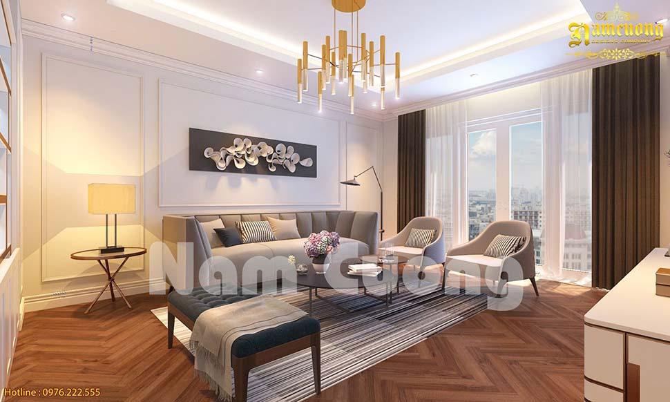 Nhiều gia đình lựa chọn sàn gỗ công nghiệp để lót sàn phòng khách
