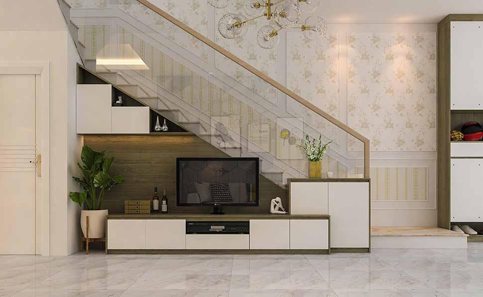 Sử dụng cầu thang làm nơi đặt kệ tivi cũng là lựa chọn khá hay ho
