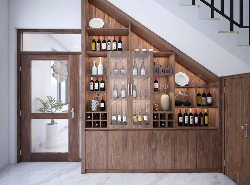 Trang trí tủ rượu dưới gầm cầu thang là lựa chọn được nhiều gia chủ quan tâm