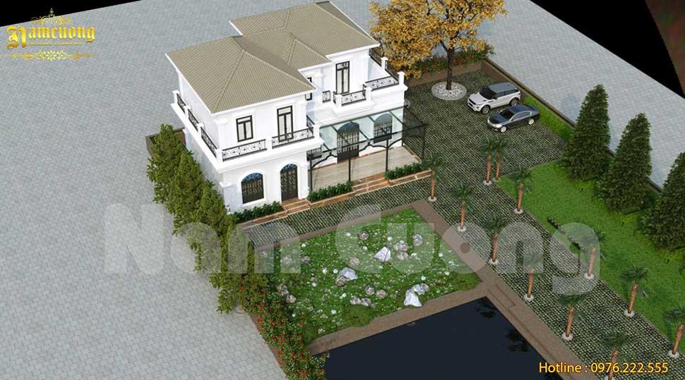 Với diện tích đất rộng, kiến trúc sư đã dành một khoảng đất lớn cho sân vườn