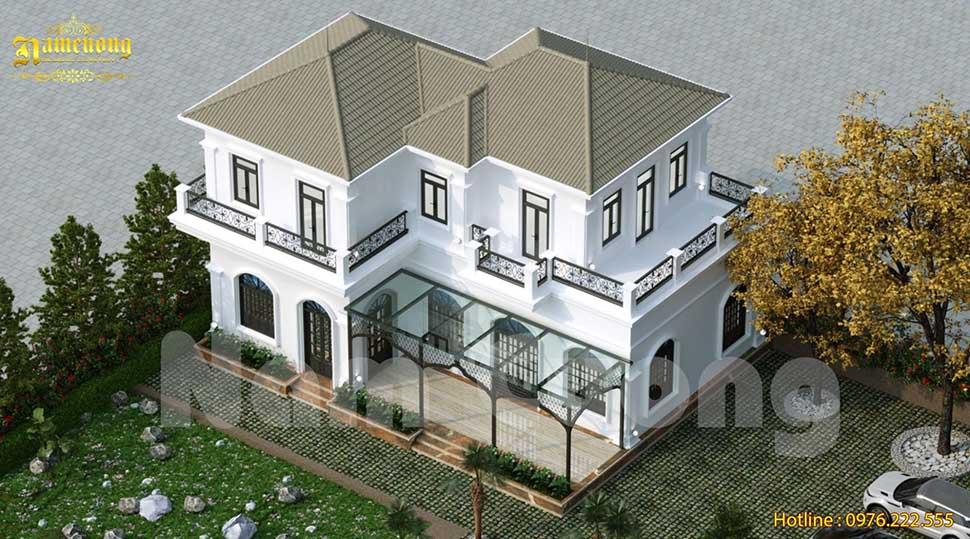 Thiết kế mái Nhật chồng lớp giúp căn biệt thự thêm xinh