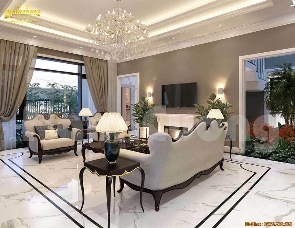 Khoảng thông tầng ở phòng khách giúp cho không gian đón sáng tốt