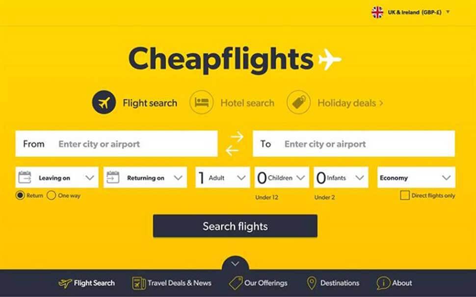 Cheapflights là đơn vị đặt vé máy bay uy tín