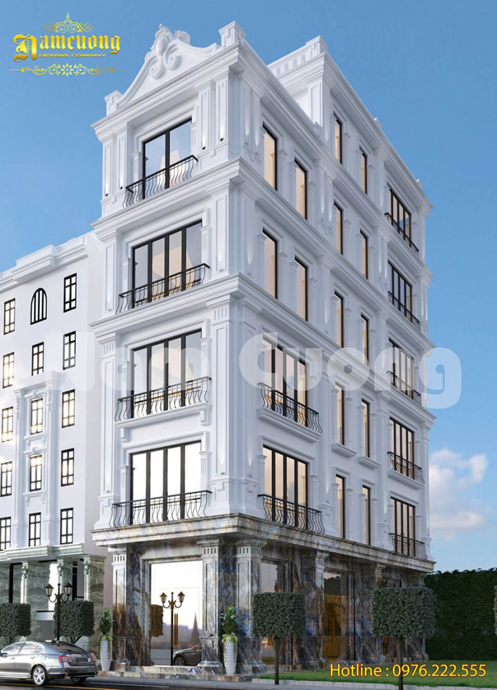 thiết kế biệt thự màu trắng