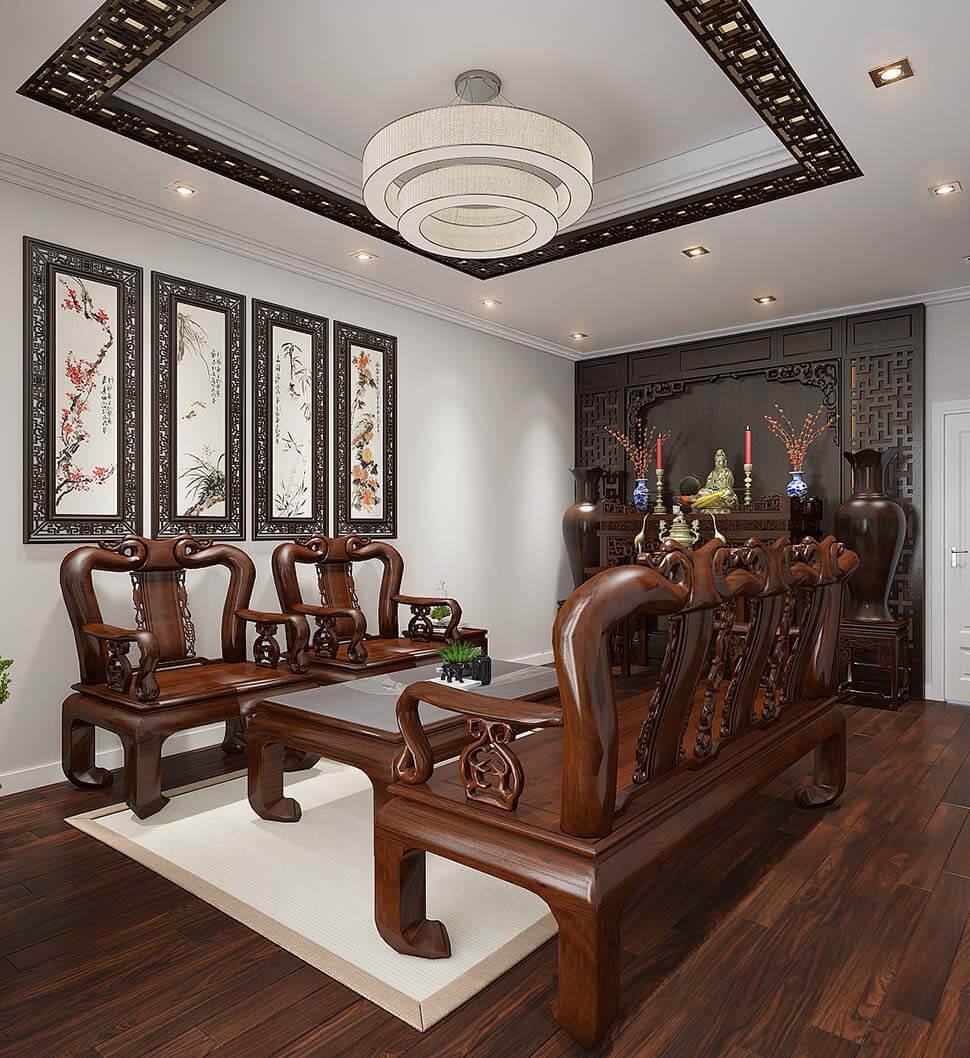 phòng khách bằng gỗ có bàn thờ đẹp