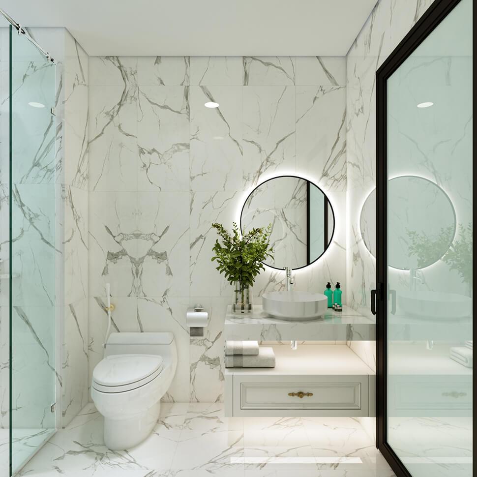 phòng tắm chống trơn lát đá