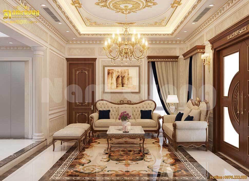 mẫu trần thạch cao phòng khách tân cổ điển