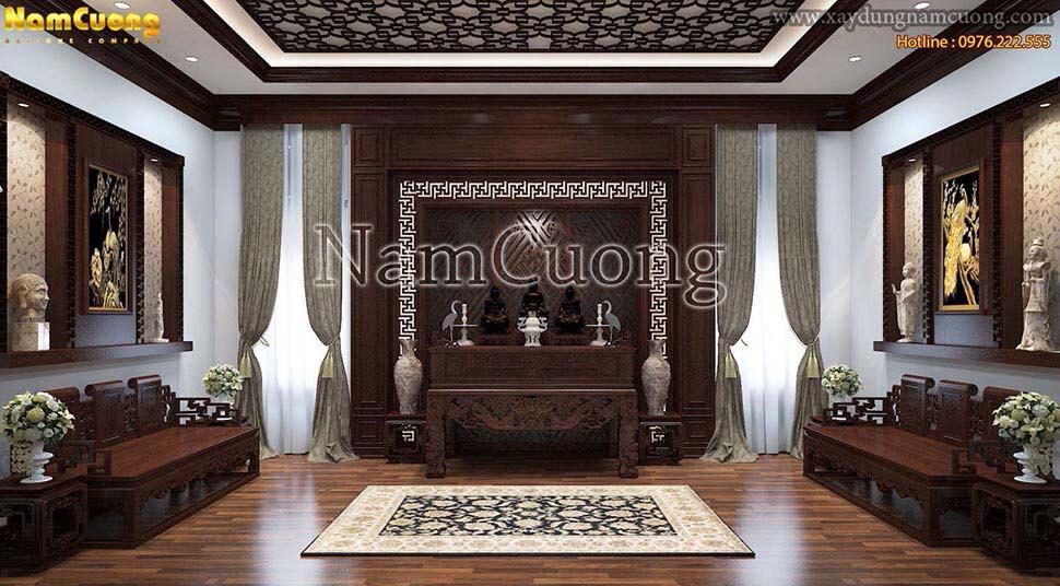nội thất phòng thờ bằng gỗ sồi