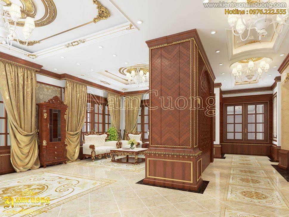 không gian phòng khách bằng gỗ