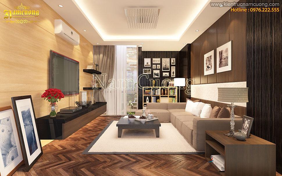 phòng khách nhà ống hiện đại 3 tầng